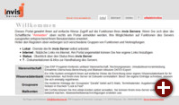 invis Portal mit den Hauptanwendungen