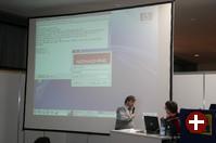 Kurt Pfeifle und Fabian Franz bei der Demonstration ihres freien NX-Servers
