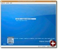 Der Startbildschirm der Live-CD