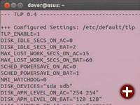 Liste der Einstellungen: Ob die Skripte von TLP geladen sind und mit welchen Optionen es aktiv ist, verrät das Kommando tlpstat, das mit seinen Parametern auch einzelne Geräte abfragen kann