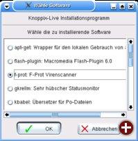 Die Softwareauswahl des Live-Installers