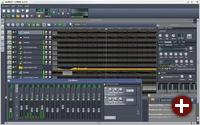 LMMS mit einem Song-Editor, FX-Mixer und einem Instrumenten-Fenster