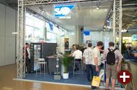 SAP hatte gleich den ersten Stand am Eingang der Halle. Am Samstag und Sonntag, als hauptsächlich Privatleute unter den Besuchern waren, war hier nicht allzuviel los.