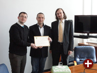 Martin Husovec, Miloš Molnár und Peter Bíro (v.l.) bei der Preisverleihung