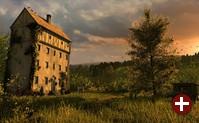 A lonely house: Mit Blender erstelltes Bild