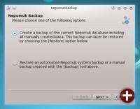 Nepomuk kann Backups erstellen