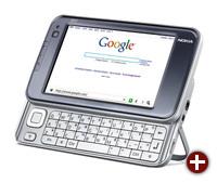 Nokia N810 mit herausgezogener Tastatur