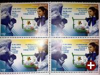 Bildung ist besser als Kinderarbeit - OLPC-XO-Briefmarken in Uruguay