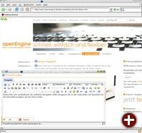 Zum Bearbeiten der Inhalte von openEngine werden keine HTML-Kenntnisse benötigt.