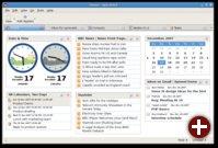Home-Bereich informiert über Post, News-Feeds und anstehende Termine