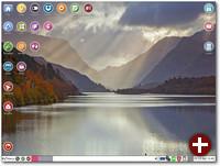 Der Desktop von Puppy Linux ist mit Schnellzugriffs-Symbolen ausgestattet