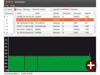 Python-Tool iwScanner: Das Programm läuft auf allen Distributionen mit Python-Interpreter. Es arbeitet als Front-End für den Befehl iwlist und zeichnet einen Graphen auf