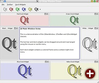 Demonstation der QMainWindow-Funktionalität unter Qt 4.0