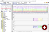 Der Kalender mit farbigen Markierungen