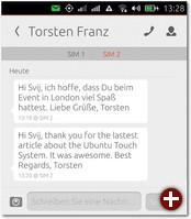 SMS-Ansicht von einem Kontakt
