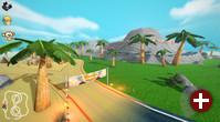 Spielszene aus »SuperTuxKart 0.9.2« - »Volcan Island«