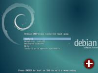 Startbildschirm des Installations-Images