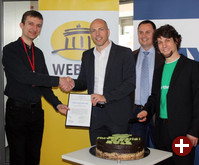 Stephan Uhlmann (FFII), Jan Oetjen (1&1, Vorstand Portale), Tino Anic (1&1), Matthias Kirschner (FSFE)