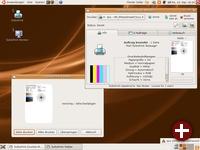 TurboPrint 2 - Desktop mit Statusmonitor, Panel-Applet und Druckvorschau