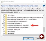 Aktivierung des »Windows Subsystem für Linux«