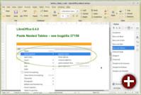 Verschachtelte Tabellen in Writer in LibreOffice 6.4