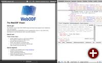 ViewerJS mit einem ODF-Dokument mit Inspektion des Dokumenten-Codes