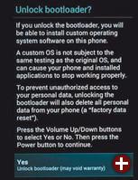 Warnmeldung beim Entsperren eines Android-Gerätes