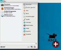 Whisker-Menü in XFCE: Das Plugin für das Panel ersetzt das traditionelle XFCE-Menü und bringt mit seiner Suchfunktion einen Hauch von KDE auf den XFCE-Desktop (hier unter Debian 7)