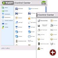 Direkter Vergleich von Yast2 aus SuSE 9.0 (links) und 8.2 (rechts)