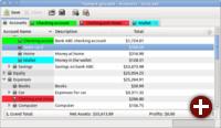 Zuweisung von Farben zu Konten in GnuCash 2.6