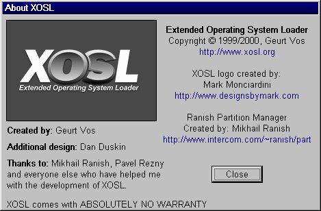 Aboutbox von XOSL