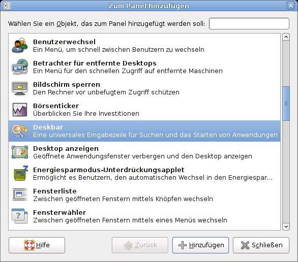 Abbildung 1: Hinzufügen des Deskbar-Applets zum Panel
