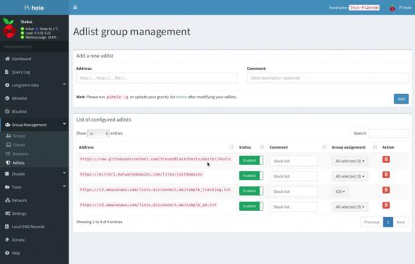 Adlist-Gruppenverwaltung in Pi-hole 5.0