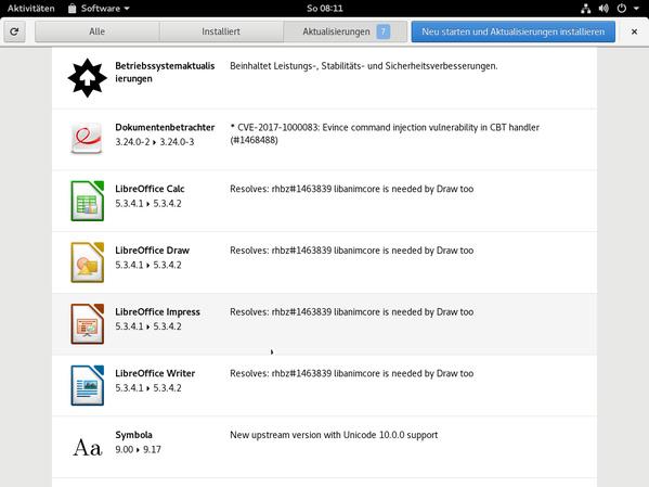 Aktualisierungen in Gnome Software