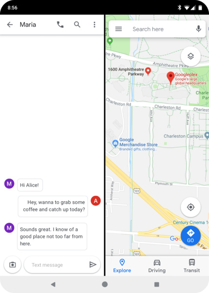 Android Q auf einem faltbaren Gerät