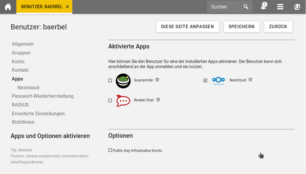 Benutzer-App-Einstellung in Univention Corporate Server 4.4