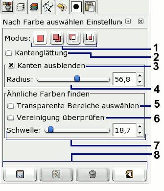 Bild 6.0: Einstellungen für Auswahl nach Farbe.