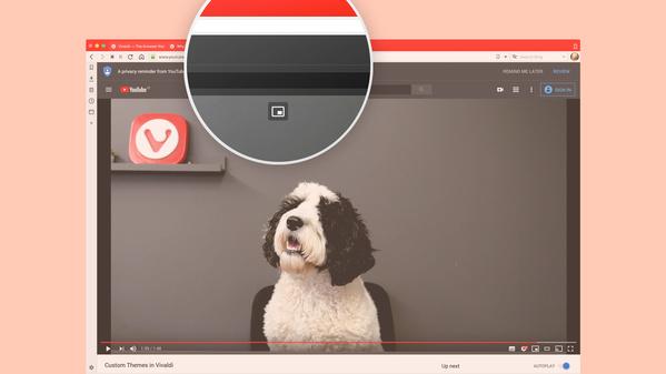 Button zum Starten des Pop-Out-Videomodus in Vivaldi 2.11