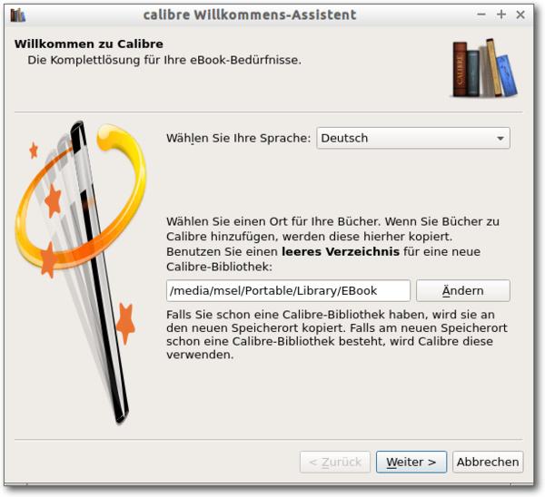 Calibre Welcome Wizard, 1. Schritt: Auswahl der Sprache, hier Deutsch