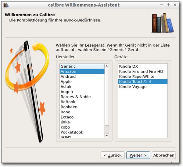 Calibre Welcome Wizard, 2. Schritt: Geräteauswahl
