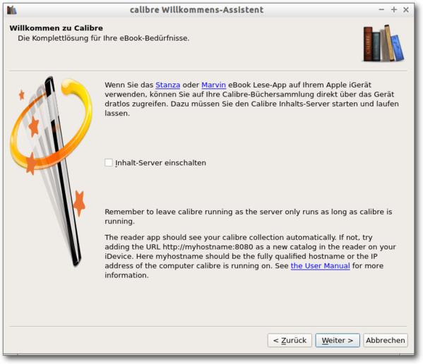 Calibre Welcome Wizard, 4. Schritt: Einrichtung des Inhalt-Servers bei Apple Devices (optional)