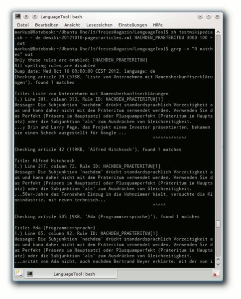 Der Test mit testwikipedia.sh zeigt sowohl Schwächen der Regel als auch der Wikipedia-Artikel
