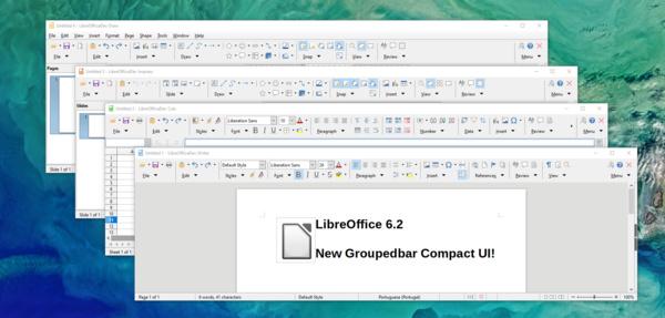 Die Groupedbar in der kompakten Variante in allen Komponenten von LibreOffice 6.2