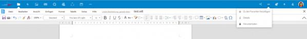 Die Menüleisten von Collabora Online-Office, integriert angezeigt in einer Nextcloud