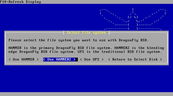 DragonFly BSD 5.0 - Dateisystemauswahl mit Hammer 2