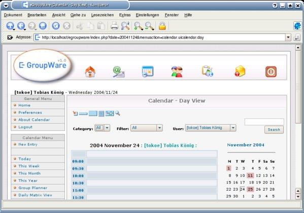 Die Startseite von eGroupware