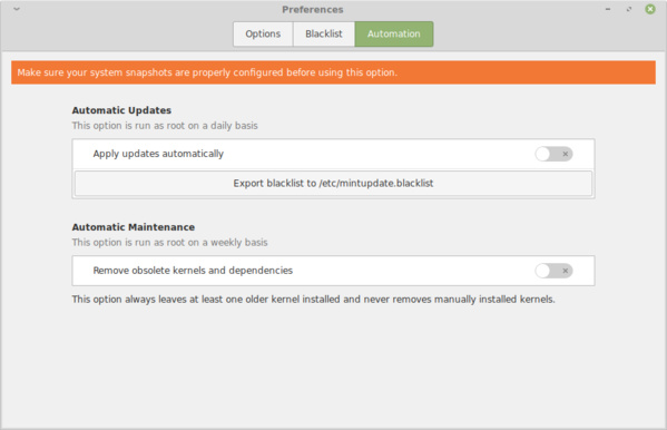 Einstellungen im Update-Manager in Linux Mint 19.2