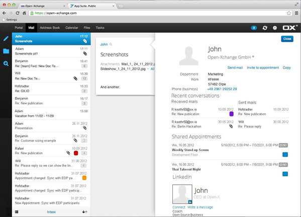 E-Mail-Ansicht mit Kontakten