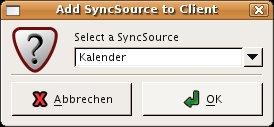 Die vorher definierte Kalenderquelle wird zum Client hinzugefügt