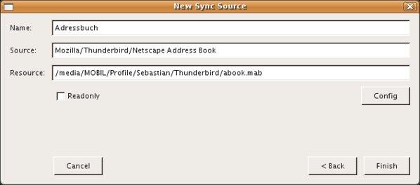 Ein Adressbuch von einer USB-Festplatte wird eingebunden